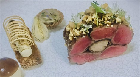 West-Flemish Red Beef With Structures Of Celeriac, Mushrooms And Onions
