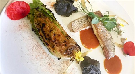 Red Mullet And Heart In Embers, Liver Sauce, Black Garlic Charcoal And Homemade Paprika
