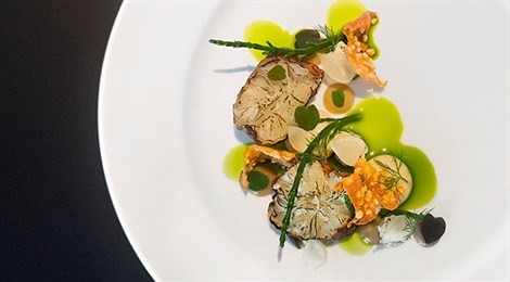 """Winner of Fine Dining Lovers Food for Thought Award with signature dish """"Jerusalem Artichoke """"Fish"""""""