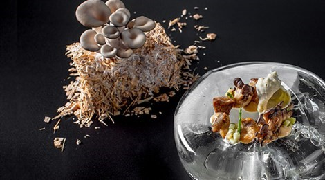 "S.Pellegrino Young Chef 2019 Euro Asia Winner with the signature dish: ""Black Sea Rapa With Mushrooms Grown On Lemon Peels"""