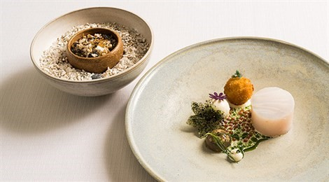 "Winner of Acqua Panna Award for Connection in Gastronomy with the signature dish: ""Different Parts Of Cod, Grilled Butter, Jellied Oyster, Crispy ""Muesli"" Made Of Grains And Cod Skin And Creamy Fish Sauce"""