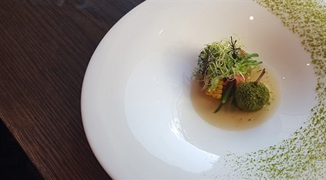 "Winner of Fine Dining Lovers Community Award with the signature dish: ""Remembrance"" (Quail Consomme)"
