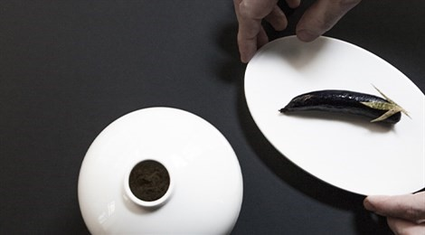 """Winner of S.Pellegrino Award for Social Responsibility with the signature dish: """"Aubergine In Black Tie"""""""