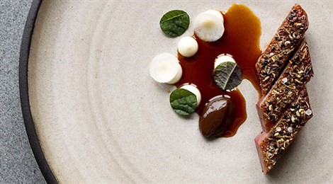 "S.Pellegrino Young Chef 2019 North America Winner with the signature dish: ""Mole Spiced Muscovy Duck, Preserved Prune And Winter Roots"""